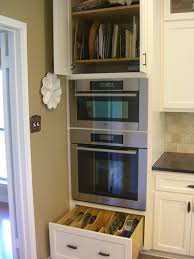 Double Wall Oven Cabinet Wall Oven Micro Cabinet Like The Pan Storage Above U0026 Below For