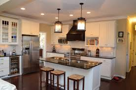 kitchen with white cabinets cottage style built in microwave