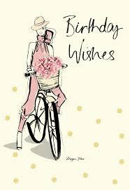 hallmark megan hess peony bike birthday card buy hallmark cards