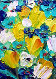 art yellow blue turquoise floral by artist luiza vizoli