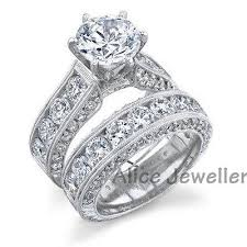 weddings 10k 2 5ct 10k white gold plated white cz wedding band engagement ring