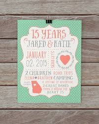 15 year anniversary gift for husband personalised wedding gift prints lading for