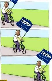 Bike Meme - donald trump bicycle meme riding bike with a flag starecat com