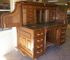 Antique Desk With Hutch Clark Model Quarter Sawn White Oak Roll Top Desk Products I