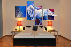 4 piece canvas wildlife horse oil paintings blue large pictures