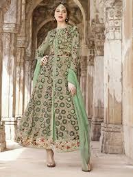 designer heavy work anarkali salwar kameez suit in green color