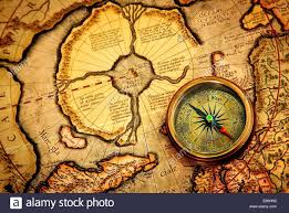 Ancient Map Vintage Compass Lies On An Ancient Map Of The North Pole Also