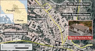 map of perugia news murder meredith kercher s italian flat