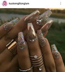 gold crome nails glitter and rhinestones nail ideas pinterest