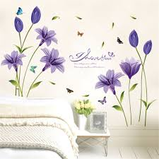 lkous removable purple lily flower decals diy art home decor wall