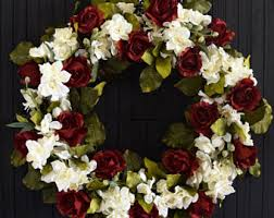 red rose wreath etsy