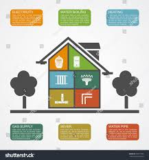 infographic template house silhouette icons communication stock
