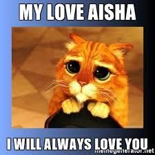 Aisha Meme - my love aisha i will always love you puss in boots eyes 2 meme