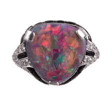 deco gem black opal diamond and onyx ring