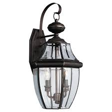 Hampton Bay Exterior Wall Lantern by Sea Gull Lighting Lancaster 2 Light Antique Bronze Outdoor Wall