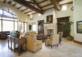 traditional living room with cathedral ceiling u0026 exposed beam