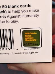cards against humanity expansion pack the sticker of authenticity on this cards against humanity