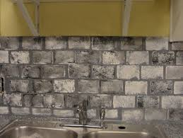 gray brick tile backsplash grey cabinets faux with white kitchen