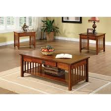 Coffee And End Table Sets Furniture Of America Nash Mission Style 3 Antique Oak Finish