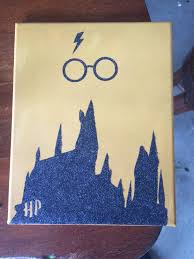 Harry Potter Bed Set by Harry Potter Canvas Hogwarts In Glitter On A Yellow Painted