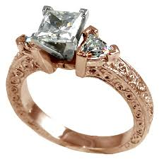 14k rose gold antique deco princess trillion cz cubic zirconia ring