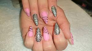 acrylic infill l pink u0026 black animal print l nail design youtube