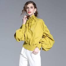 elastic waist blouse blouse pleated neck lantern sleeves elastic waist solid