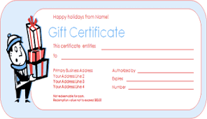 gift certificate for merchandise templates