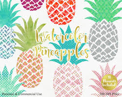 watercolor pineapple clipart commercial use clip art fun tropical
