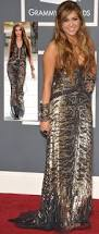 miley cyrus in roberto cavalli sequined dress for 2011 grammy