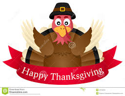 happy thanksgiving turkey with ribbon stock vector image 45759816