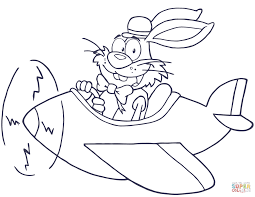 easter rabbit flying with plane coloring page free printable