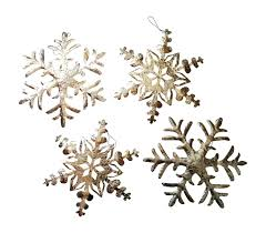 set of 4 large silver hammered metal rustic snowflake