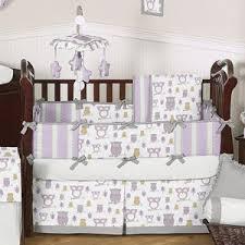 owl crib bedding for girls lavender and gray owl modern