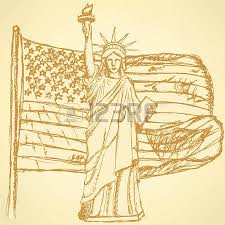 sketch usa flag and statue of liberty vector vintage background