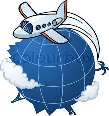 traveling around the world images Cartoon airplane traveling around the world stock vector colourbox jpg