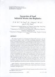 bioplastic research paper conversion of food industrial wastes into bioplastics pdf
