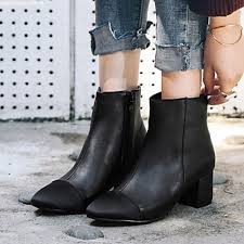 womens boots and booties shoes leatherette fall winter fashion boots bootie boots chunky