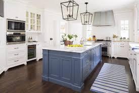 blue kitchen island with blue striped runner https www