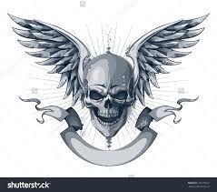 skull with wings and scroll ribbon tattoo design tats