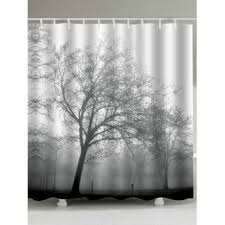 Tree Curtain Scenery Print Waterproof Fabric Shower Curtain Gray W Inch L