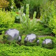 stainless steel black finish mirror garden sphere ornament 9cm