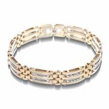 double gold bracelet images Men 39 s 1 ct t w diamond double row 14k two tone gold bracelet jpg