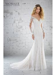 illusion neckline wedding dress mori 6888 karolina lace dress with illusion neckline ivory