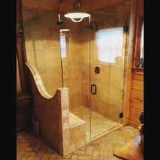 Wood Shower Door by Frameless Shower Doors Anderson Glass