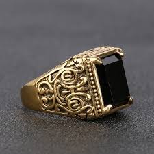 men s rings retro black ring classic style gilded men s rings