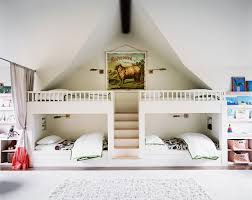Designer Bunk Beds Melbourne by Pretty White Wooden Unique Bunk Beds Under Vaulted Concrete Ceiling Jpg