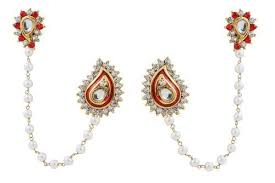 kaan earrings multicolor ear cuffs with pearl kaan chain rs 35 pair id