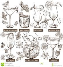 Vector Sketch Illustration Set Of Cocktails Stock Vector Image