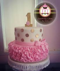 gold polka dots and pink ruffle cake my creations pinterest